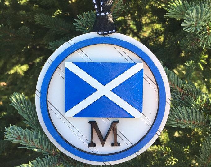 M Nautical Sailing Flag Ornament | Nautical Wedding Gift Tag | Personalized Sailing Flag Christmas Ornament | Sailing Gift Idea