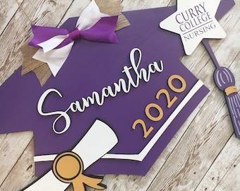 Custom 2021 Grad Cap Door Hanger   Senior Graduate Cap Decor   High School Graduation Door Sign   Graduation Party Decor