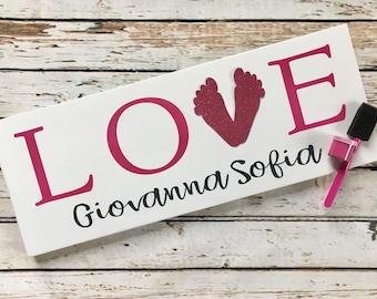 LOVE baby footprint gift set   New Baby Footprint Sign   Baby Shower Gift Idea