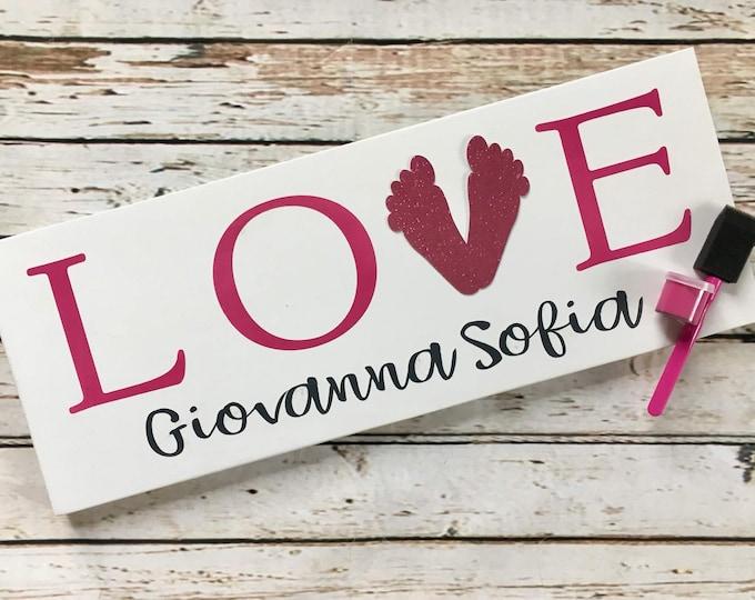 LOVE baby footprint gift set | New Baby Footprint Sign | Baby Shower Gift Idea