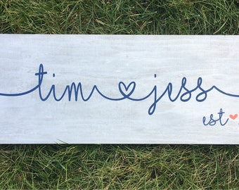 Custom Personalized Couple First Name with connecting heart wood sign - Great Engagement Gift!