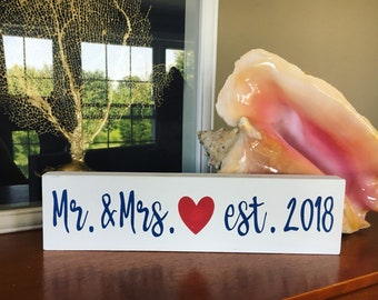 "2.5"" x 10"" Mr. & Mrs. Est. Year Sign 