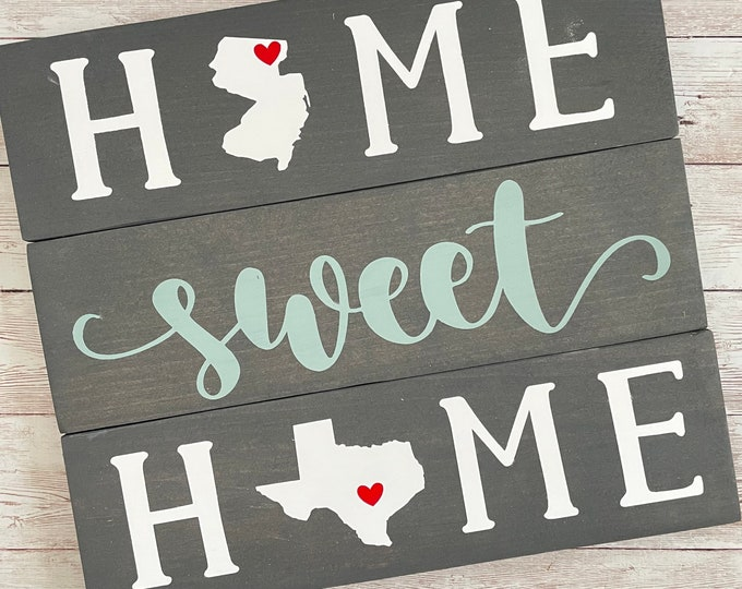 New Jersey to Texas State Sign   Two State Home Sign   New Home Gift idea   Housewarming Gift Idea   2 State Sign   Moving away gift