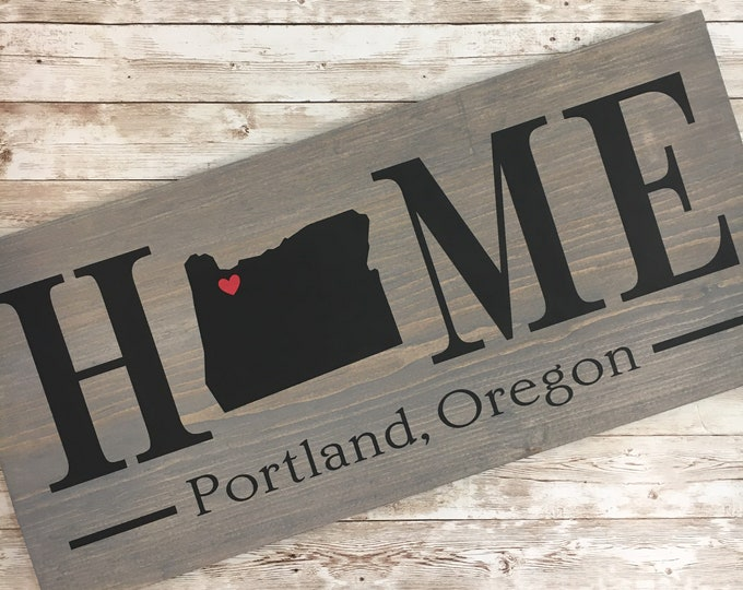Oregon Home State wood sign | 2 sizes available |Customized with Oregon town name | Oregon Home Decor