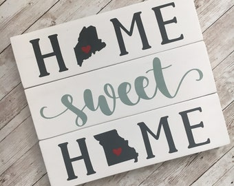 Home Sweet Home Double State Wood Sign | Two State Home Sign | New Home Gift idea | Housewarming Gift Idea | Farewell Gift