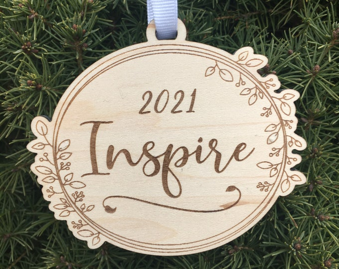 2021 Word of the Year Ornament | Word of the Year Shelf Sign | 2021 Inspirational Gift | Personal Mantra Ornament | New Years Resolution