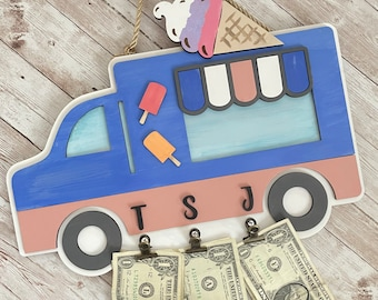 Ice Cream Truck Money Holder Sign | Summer Decor | Ice Cream Truck Fund | Summer Kids Fun Decor