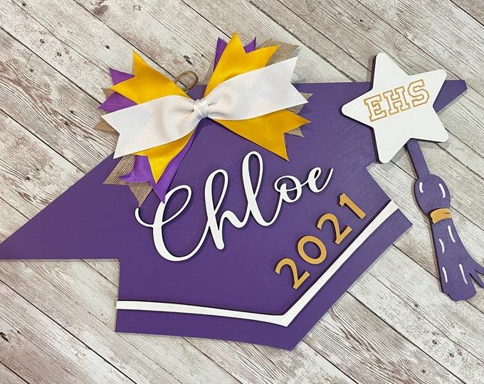 2021 Custom Grad Cap Door Hanger | Senior Grad Decor | High School Graduation Door Sign | Graduation Party Decor