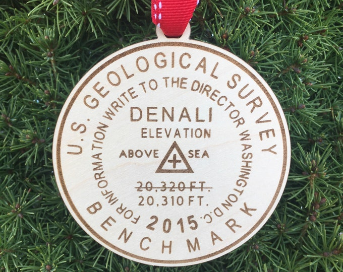 Denali Bench Mark Ornament | Hiker Ornament | Christmas 2020 | Alaska | Hiker Gift | Denali Mountain Marker | Alaska Hiking Souvenir