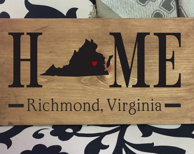 Virginia (VA) Home State wood sign | 2 sizes available | Customized with Virginia town name | Virginia Decor