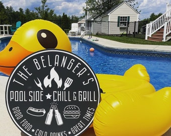 Custom Family Pool Round Wood  Sign  / Family Last Name Pool Sign / Patio Family Sign / Multi Size Rounds Available