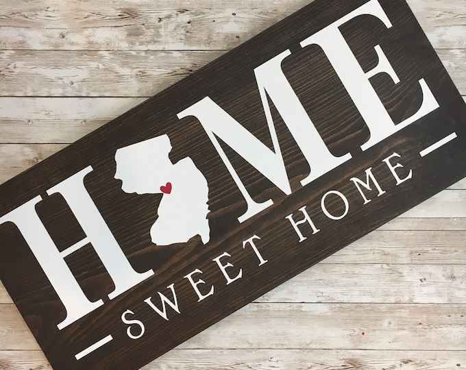 Home Sweet Home NJ wood sign | 2 sizes available | Housewarming Gift | New Jersey