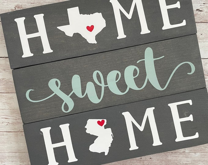 Texas to New Jersey State Sign   Two State Home Sign   New Home Gift idea   Housewarming Gift Idea   2 State Sign   Moving away gift