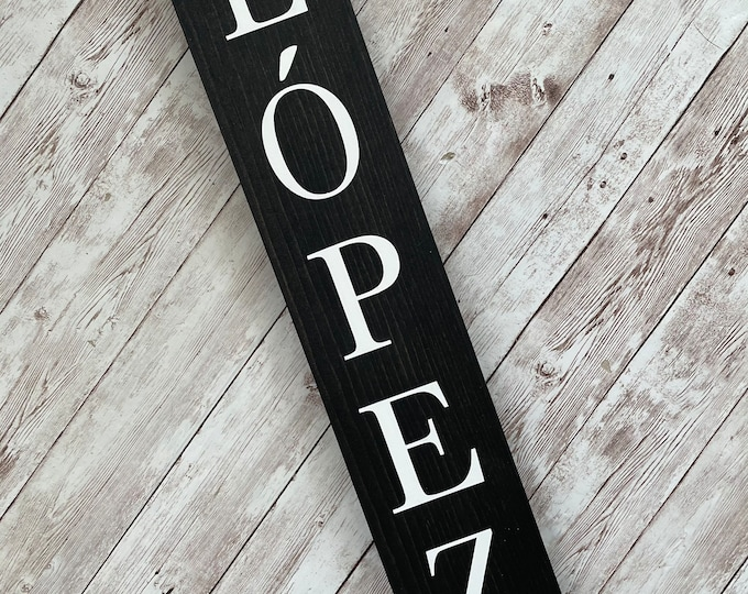 Lopez Family Name Sign |  Last Name or Town Name Sign | Custom gallery wall sign | Housewarming Gift Idea | Thin Vertical Sign
