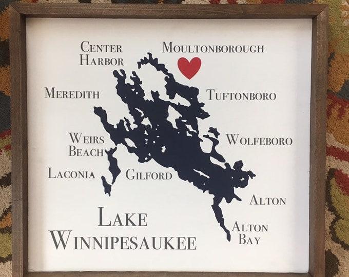 Lake Winnipesaukee Framed Sign with town names - Available 4 sizes (Small, Medium, Large, XLarge) | NH Lake House Decor