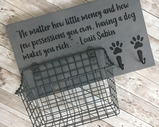 Custom Dog Leash Hook and Basket Sign | Dog Name or Quote sign with basket and leash hooks | Mudroom Pet Organizer | Dog Leash Holder