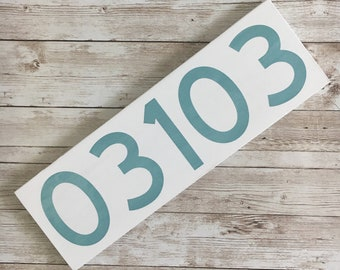 "Custom Zip Code Wood Sign | Housewarming Gift | White and Grey Decor | 3.5"" x 11"" 