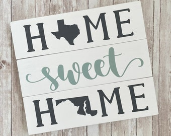 Texas to Maryland State Sign | Two State Home Sign | New Home Gift idea | Housewarming Gift Idea | 2 State Sign | Moving away gift