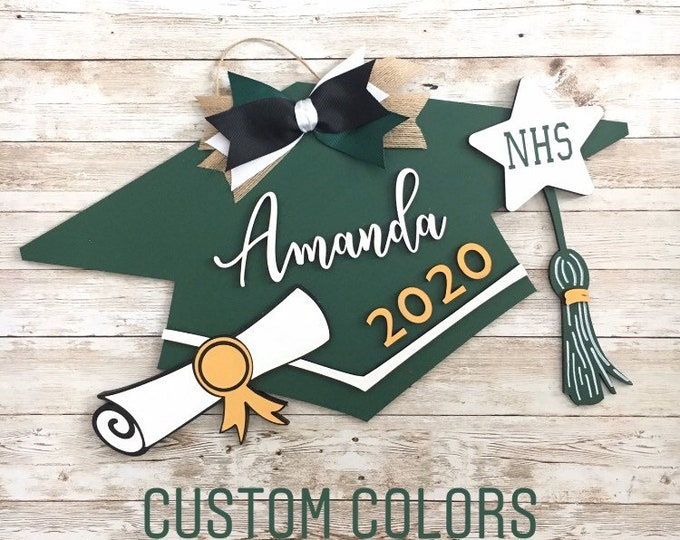 Custom Grad Cap Door Hanger | Senior 2020 Grad Decor | High School Graduation Door Sign | Graduation Party Decor