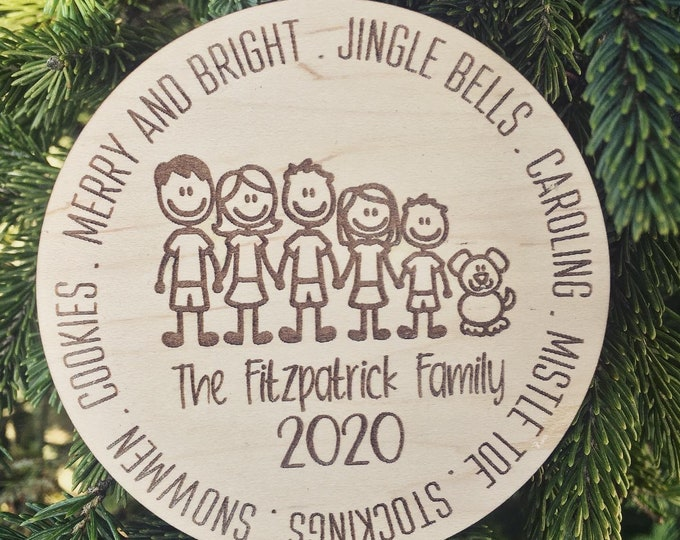 Personalized Christmas Family Ornament | Stick Figure Family | Personalized Tree Ornament | Family + Cat + Dog Available