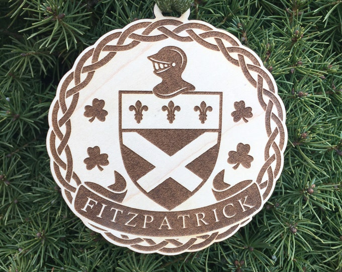 Fitzpatrick Family Crest Ornament | Irish Surname Wedding Gift | Wedding Ornament | Fitzpatrick Coat of Arms Gift Ornament