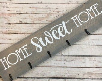 Home Sweet Home Coat Hook Sign | 6 Hook Coat Rack | Entryway Coat Hook Sign | Housewarming Gift Idea | Realtor Closing Gift | New Home Gift