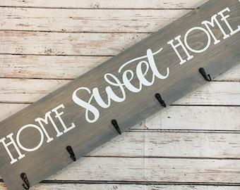 Home Sweet Home Coat Hook Sign   6 Hook Coat Rack   Entryway Coat Hook Sign   Housewarming Gift Idea   Realtor Closing Gift   New Home Gift