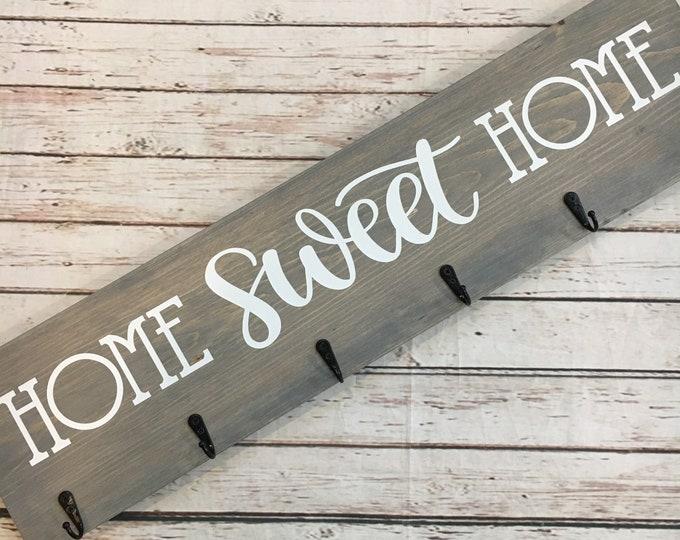 Home Sweet Home Coat Hook Sign | 6 Hook Coat Rack | Entryway Coat Hook Sign | Housewarming Gift Idea | Realtor Closing Gift | New Home Gift