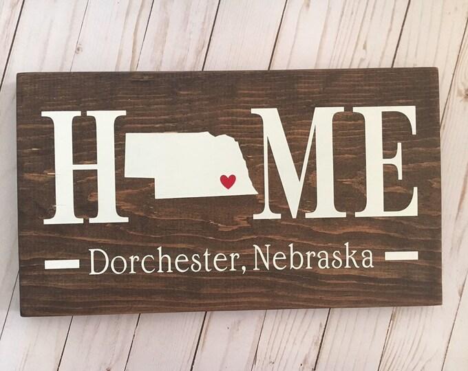 Nebraska (NE) Home State wood sign | 2 sizes available | Customized with Nebraska town name | Nebraska  Decor