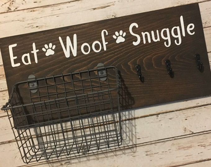 Eat Woof Snuggle Dog Leash Hook and Basket Sign Combo | Dog Organizer with attached basket and leash hooks | Pet Organizer
