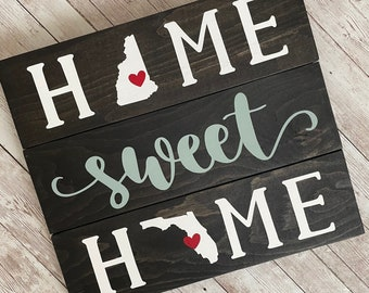 New Hampshire to Florida Home Sweet Home 2 State Wood Sign | Two State Home Sign | New Home Gift idea | Housewarming Gift Idea