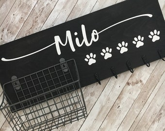 Dog Leash Hook and Basket Sign Combo | Custom Dog Name sign with attached basket and leash hooks | Pet Leash Organizer