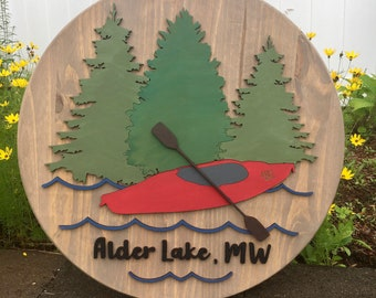 "15"" / 18"" / 24"" Round Lake House 3D Wood Sign 