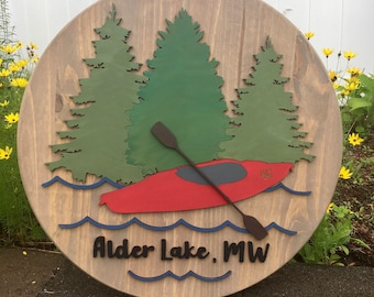 "15"" / 18"" / 24"" Round Lake House 3D Wood Sign   Canoe or Kayak Sign   Town or Last Name Wood Circle Sign   Lake House Decor"