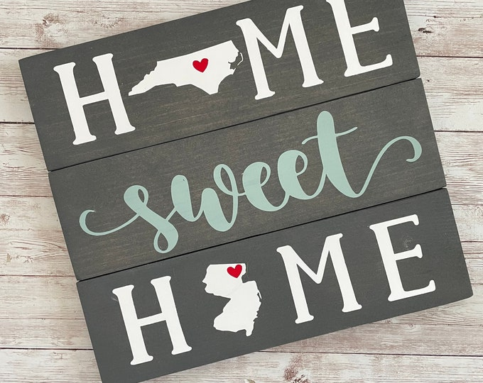 North Carolina to New Jersey Sign   Two State Home Sign   New Home Gift idea   Housewarming Gift Idea   2 State Sign   Moving away gift