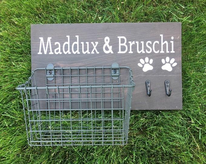 Dog Leash Hook and Basket Sign Combo   Custom Dog Name sign with attached basket and leash hooks   Pet Leash Organizer
