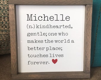 "Special Name Definition Sign | Sister Gift | Coach Gift | Teacher Appreciation Gift | Framed in 3 sizes, 8"", 10"" and 12"""