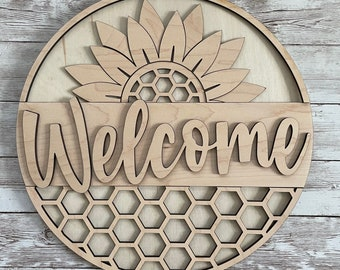 DIY Welcome Paint Your Own Sign Kit | Summer Sunflower Sign |  DIY Summer project idea | Gift for mom