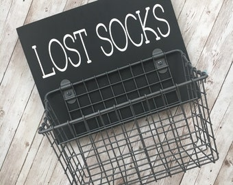 Lost Socks Laundry Room Basket | Color Pop Series | Laundry Room Decor & Organization | Multi Color Options
