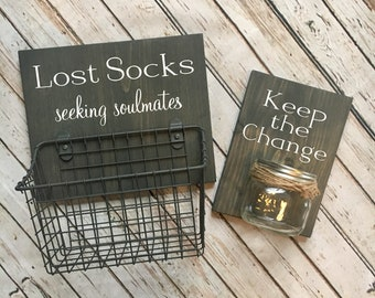 Laundry Room Sign Combo | Keep the Change AND Lost Socks - Seeking Soulmates (or Solemates) | wood sign with attached glass jar coin holder