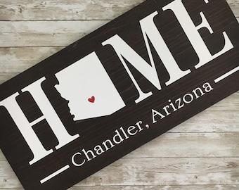 Arizona (AZ) Home State wood sign   2 sizes available   Customized with Arizona town name   Arizona Wall Decor   Gallery Wall Decor
