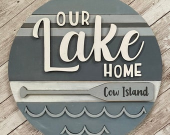 "Our Lake Home 3D Wood Sign | 3 sizes available -12"", 16"", 18""