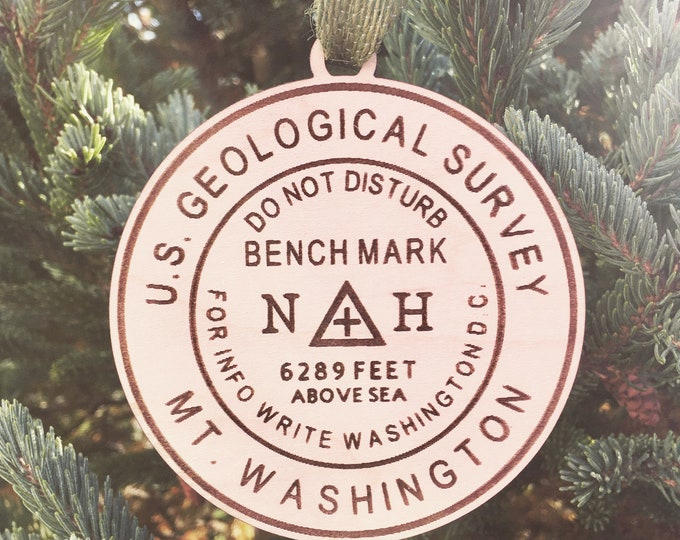 Mt. Washington Bench Mark Ornament | NH Hiker Ornament | New Hampshire Mountains | Hiking Souvenir | Hiking Gift Idea