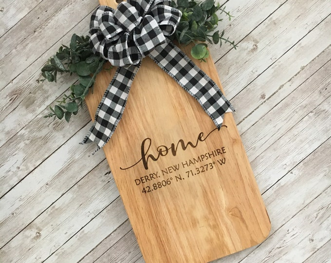 HOME Cutting Board or Wall Hanging | Custom Town name with Coordinates  | Housewarming Gift | Charcuterie Board | Modern Farmhouse Decor
