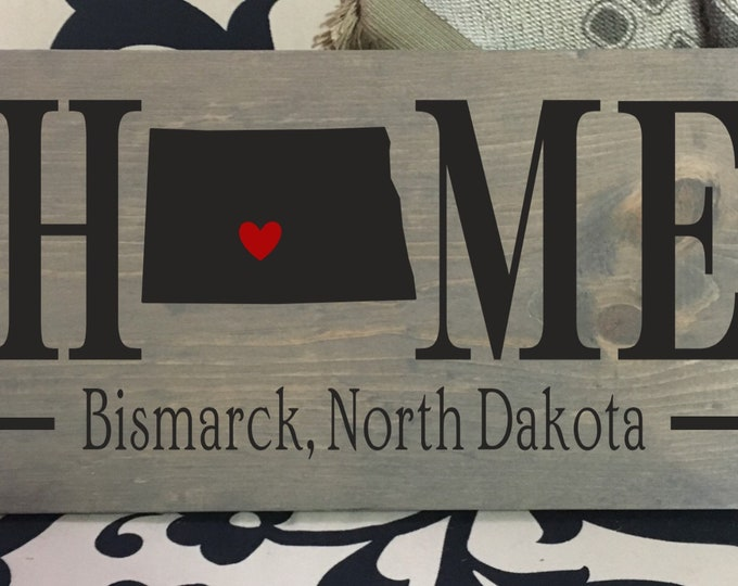 North Dakota (ND) Home State wood sign | 2 sizes available | Customized with North Dakota town name | North Dakota Decor