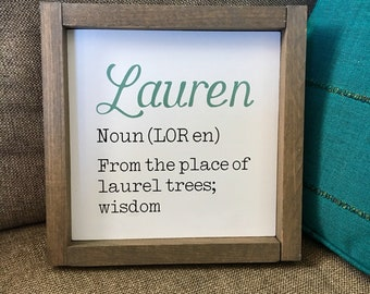 "Personalized Name Definition Sign | 3 sizes (8"", 10"" and 12"") Framed 