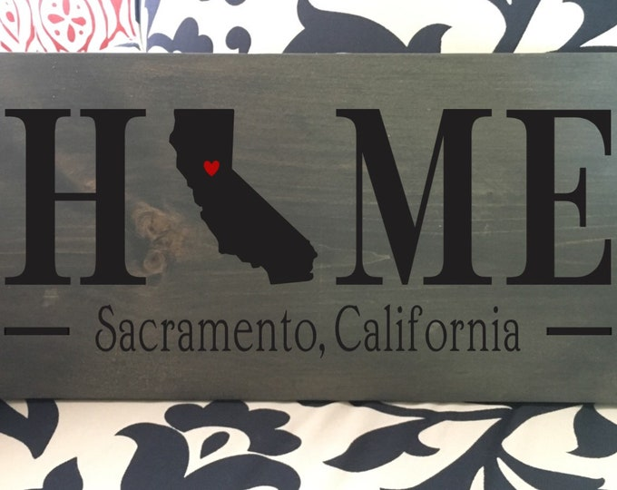 California (CA) Home State wood sign | 2 sizes available | Customized with California town name | California Decor