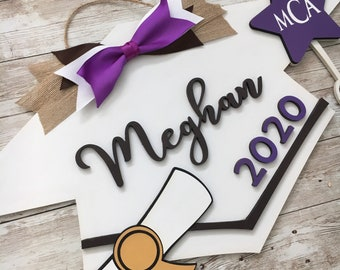 2021 Custom Grad Cap Door Hanger | Senior Grad Decor | High School Graduation Door Sign | Graduation Party Decor
