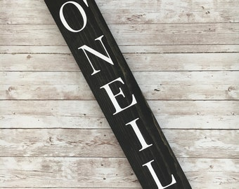 O'Neil Family Name Sign |  Last Name or Town Name Sign | Custom gallery wall sign | Housewarming Gift Idea | Thin Vertical Sign