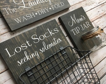 Laundry Room Sign Trio |  Lost Socks Basket AND Mom's Tip Jar AND The Laundry Room Sign | Laundry Room Decor | Spanish Option Available